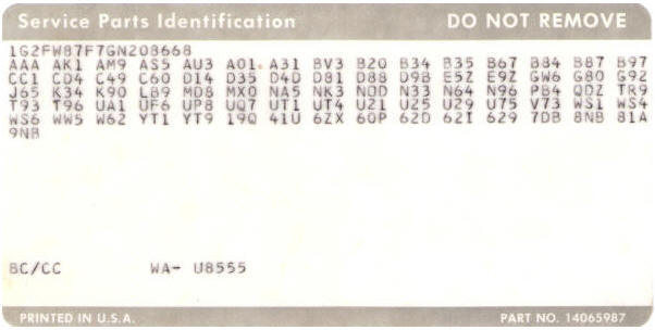 deciphering the vin and rpo codes