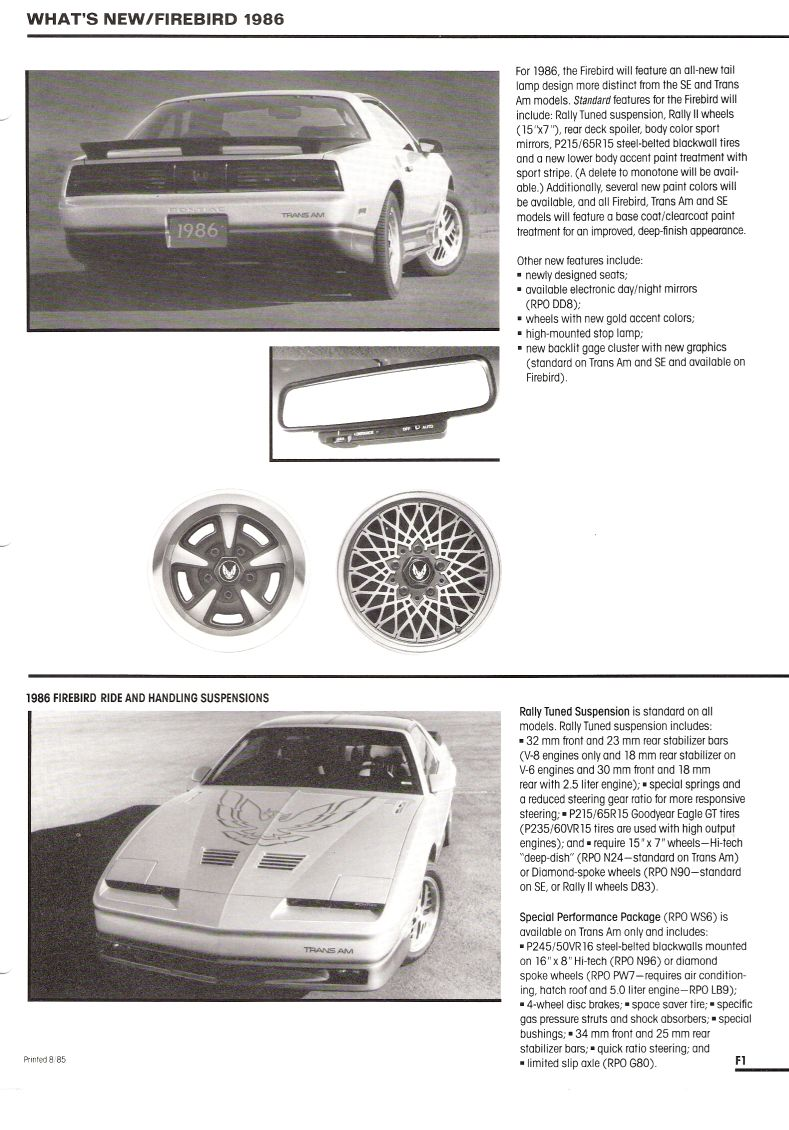 1986 Pontiac Dealer Product Ordering Manual 77 Tran Am Ignition Wiring Diagram Information Page F1